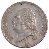 Louis XVIII, 5 Francs Naked Bust