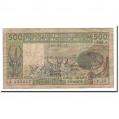 West African States, 500 Francs, 1986, KM:106Aj, VF(20-25)