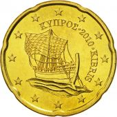 Cyprus, 20 Euro Cent, 2010, MS(65-70), Brass, KM:82