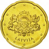 Latvia, 20 Euro Cent, 2014, MS(65-70), Brass, KM:154