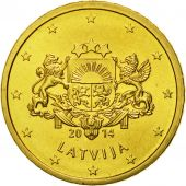 Latvia, 50 Euro Cent, 2014, MS(65-70), Brass, KM:155