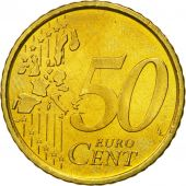 Spain, 50 Euro Cent, 2001, MS(63), Brass, KM:1045
