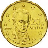 Greece, 20 Euro Cent, 2005, MS(63), Brass, KM:185