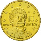 Greece, 10 Euro Cent, 2005, MS(63), Brass, KM:184