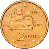 Greece, 2 Euro Cent, 2005, MS(63), Copper Plated Steel, KM:182