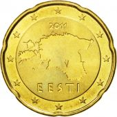 Estonia, 20 Euro Cent, 2011, MS(63), Brass, KM:65