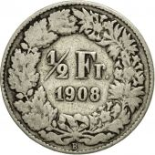 Coin, Switzerland, 1/2 Franc, 1908, Bern, VG(8-10), Silver, KM:23