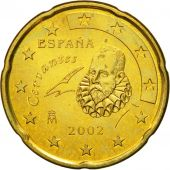 Spain, 20 Euro Cent, 2002, EF(40-45), Brass, KM:1044