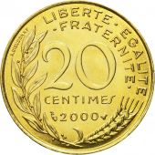 Coin, France, Marianne, 20 Centimes, 2000, Paris, MS(63), Aluminum-Bronze