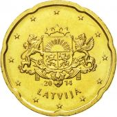 Latvia, 20 Euro Cent, 2014, MS(63), Brass, KM:154