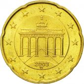 GERMANY - FEDERAL REPUBLIC, 20 Euro Cent, 2003, MS(63), Brass, KM:211
