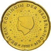 Netherlands, 20 Euro Cent, 2002, MS(60-62), Brass, KM:238