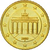 GERMANY - FEDERAL REPUBLIC, 50 Euro Cent, 2002, MS(60-62), Brass, KM:212