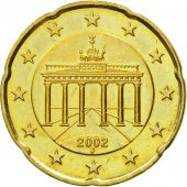 GERMANY - FEDERAL REPUBLIC, 20 Euro Cent, 2002, AU(55-58), Brass, KM:211