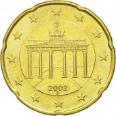 GERMANY - FEDERAL REPUBLIC, 20 Euro Cent, 2002, EF(40-45), Brass, KM:211