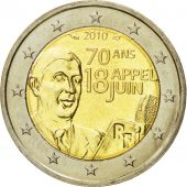 France, 2 Euro, 70th Anniversary, June 18th Appea, 2010, MS(63), Bi-Metallic