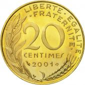 Coin, France, Marianne, 20 Centimes, 2001, Paris, MS(65-70), Aluminum-Bronze