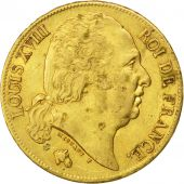 Louis XVIII, 20 Francs or au buste nu 1818 Paris, KM 712.1