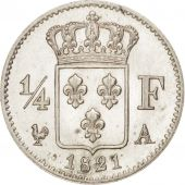France, Louis XVIII,1/4 Franc, 1821,Paris, MS(65-70),Silver,KM 714.1,Gadoury 352