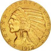 United States, Indian Head, $5, Half Eagle, 1912,Philadelphia, AU (50-53),KM 129