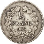 France,Louis-Philippe,1/4 Franc,1835,Paris,VF(30-35),Silver,KM:740.1,Gadoury 355