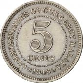 MALAYA, 5 Cents, 1948, TTB+, Copper-nickel, KM:7