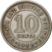 MALAYA & BRITISH BORNEO, 10 Cents, 1956, TTB+, Copper-nickel, KM:2