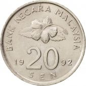 Malaysie, 20 Sen, 1992, SUP, Copper-nickel, KM:52