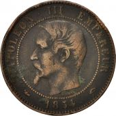 France, Napoleon III, 10 Centimes, 1854, Paris, VF(30-35), KM 771.1,Gadoury 248