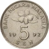 Malaysie, 5 Sen, 1992, TTB+, Copper-nickel, KM:50