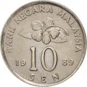 Malaysie, 10 Sen, 1989, TTB+, Copper-nickel, KM:51