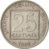 France, Patey, 25 Centimes, 1903, Paris, AU(50-53), Nickel, KM:855, Gadoury:362