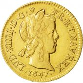 France, Louis XIV, 1/2 Louis dor à la mèche longue,1647, Paris, TTB, KM 156.1