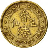 Hong Kong, George VI, 5 Cents, 1949, EF(40-45), Nickel-brass, KM:26
