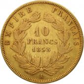 France, Napoleon III, 10 Francs, 1858, Paris, VF(30-35), Gold, KM 784.3