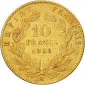 France, Napoleon III,10 Francs, 1868, Paris, EF(40-45), Gold, KM 800.1
