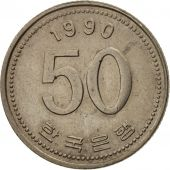 KOREA-SOUTH, 50 Won, 1990, TTB+, Copper-Nickel-Zinc, KM:34