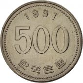 KOREA-SOUTH, 500 Won, 1991, SUP, Copper-nickel, KM:27