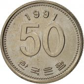 KOREA-SOUTH, 50 Won, 1991, TTB+, Copper-Nickel-Zinc, KM:34