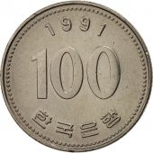 KOREA-SOUTH, 100 Won, 1991, TTB+, Copper-nickel, KM:35.2