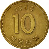 KOREA-SOUTH, 10 Won, 1986, TTB+, Brass, KM:33.1