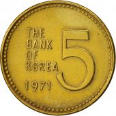 KOREA-SOUTH, 5 Won, 1971, TTB+, Brass, KM:5a