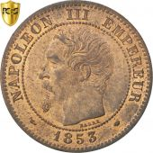 Second Empire, 2 Centimes Napoléon III tête nue 1853 MA, PCGS MS63BN, KM 776.6