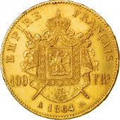 Second Empire, 100 Francs Or Napoléon III, tête laurée, 1864 A, KM 802.1