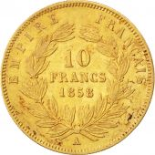 Second Empire, 10 Francs Or Napol�on III, t�te nue, 1858 A, KM 784.3