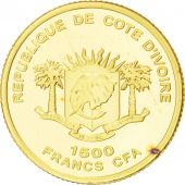 Côte d'Ivoire, République, 1500 Francs CFA Or Chopin 2007, KM New