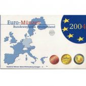 Germany, 5 x Proof Euro Set of 8 coins, 5 Mints, 2004 ADFGJ