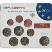 Germany, 5 x Euro Set of 9 coins, 5 Mints, 2007 ADFGJ