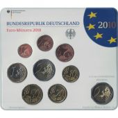 Germany, 5 x Euro Set of 9 coins, 5 Mints, 2010 ADFGJ