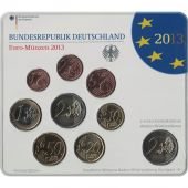 Germany, Euro Set of 9 coins, 2013 F